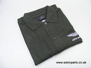 Aston Martin Mens Workwear Polo Shirt Black With Am Logo 702880m