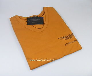 ASTON MARTIN LADIES LONG SLEEVE T-SHIRT TAN WITH BLACK LOGO MEDIUM – 702008M.