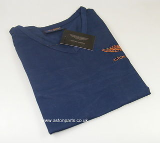 ASTON MARTIN LADIES LONG SLEEVE T-SHIRT BLUE/TAN LOGO SMALL – 702093S.
