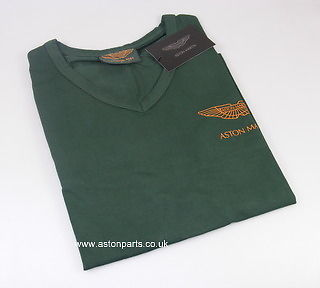 ASTON MARTIN LADIES LONG SLEEVE T-SHIRT GREEN WITH TAN LOGO SMALL – 702010S.