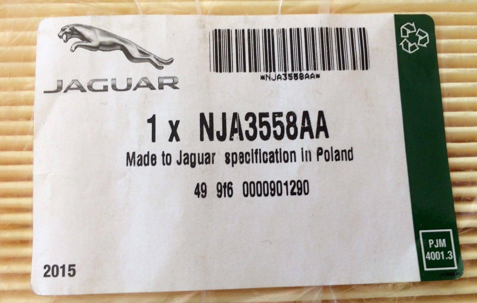 JAGUAR XJ8 & XK8 3.2, 4.0, 4.2 & SUPERCHARGED AIR FILTER – NJA3558AA.